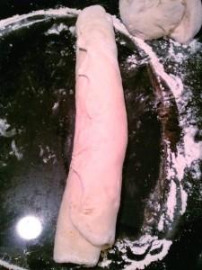 Rolled up coffee cake braid piece